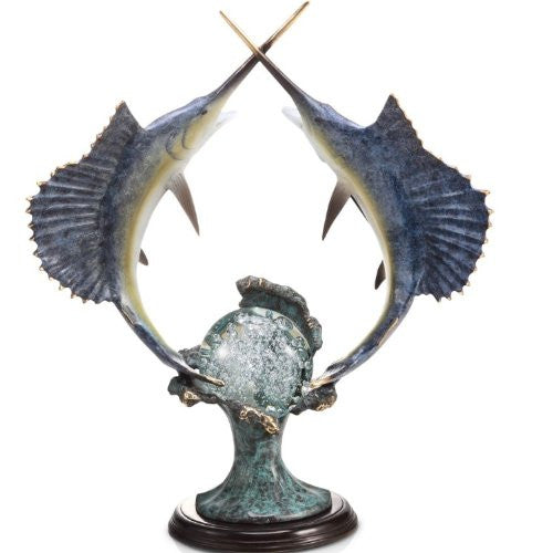 SPI Home Collection Sailfish Underwater Duel Sculpture - ArtsiHome