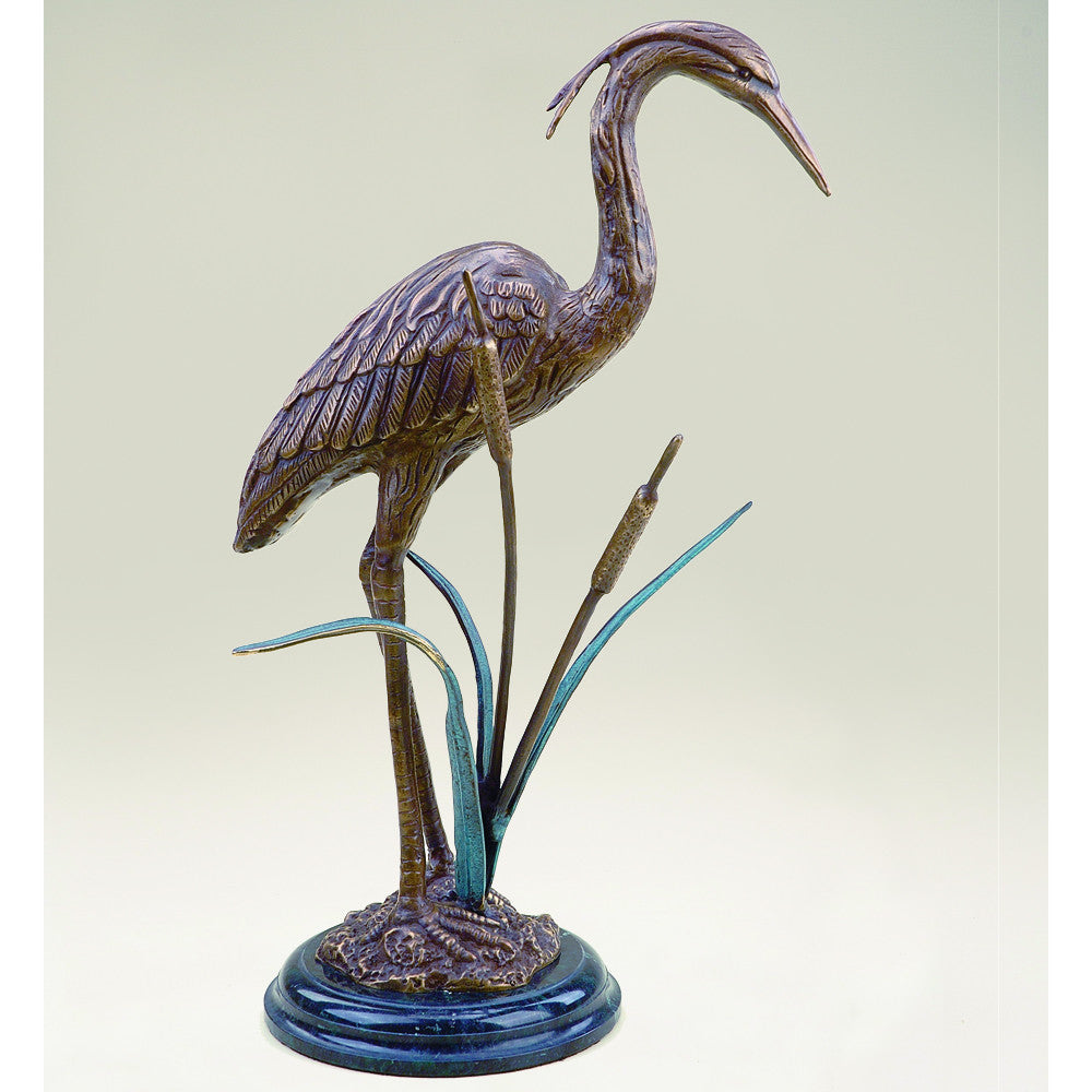 SPI Crane & Cattails Brass and Marble Sculpture - ArtsiHome