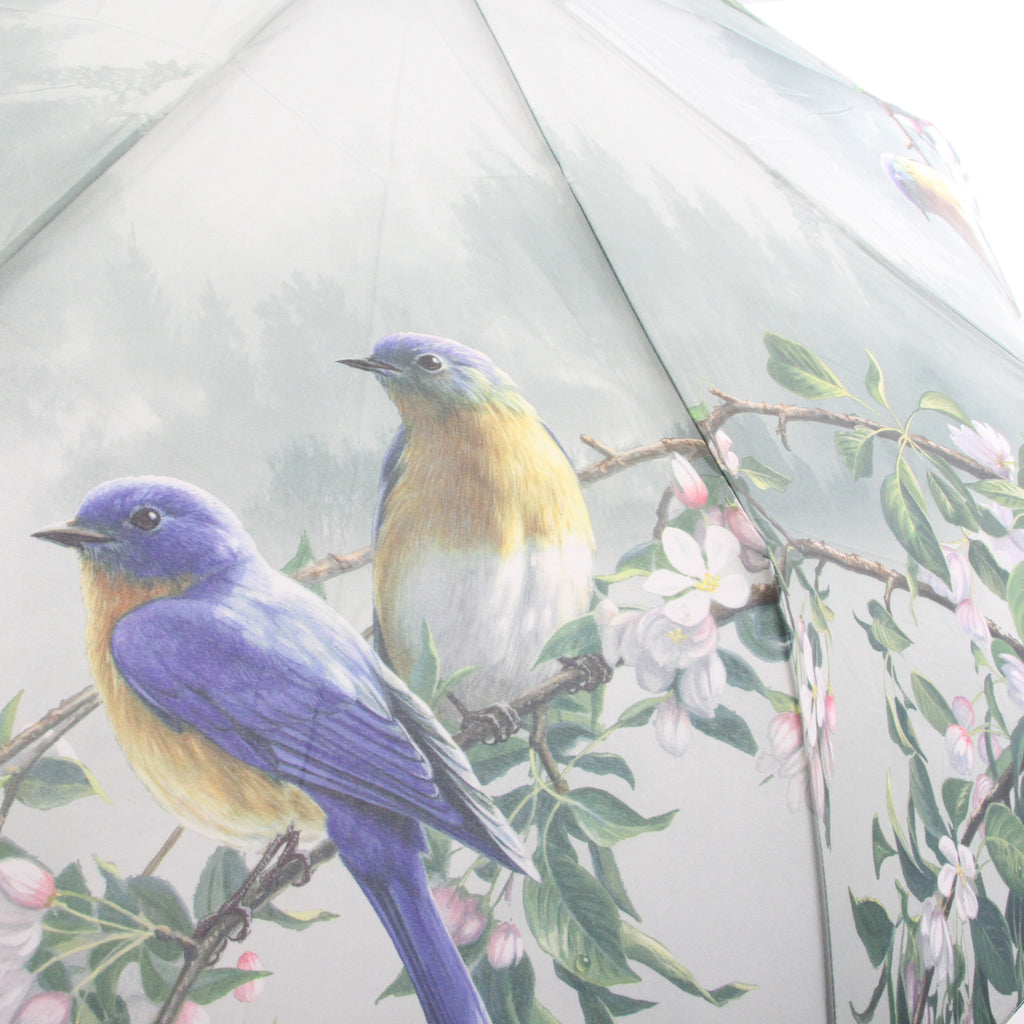 Galleria Folding AUTO OPEN/CLOSE Umbrella BLUE BIRDS - ArtsiHome