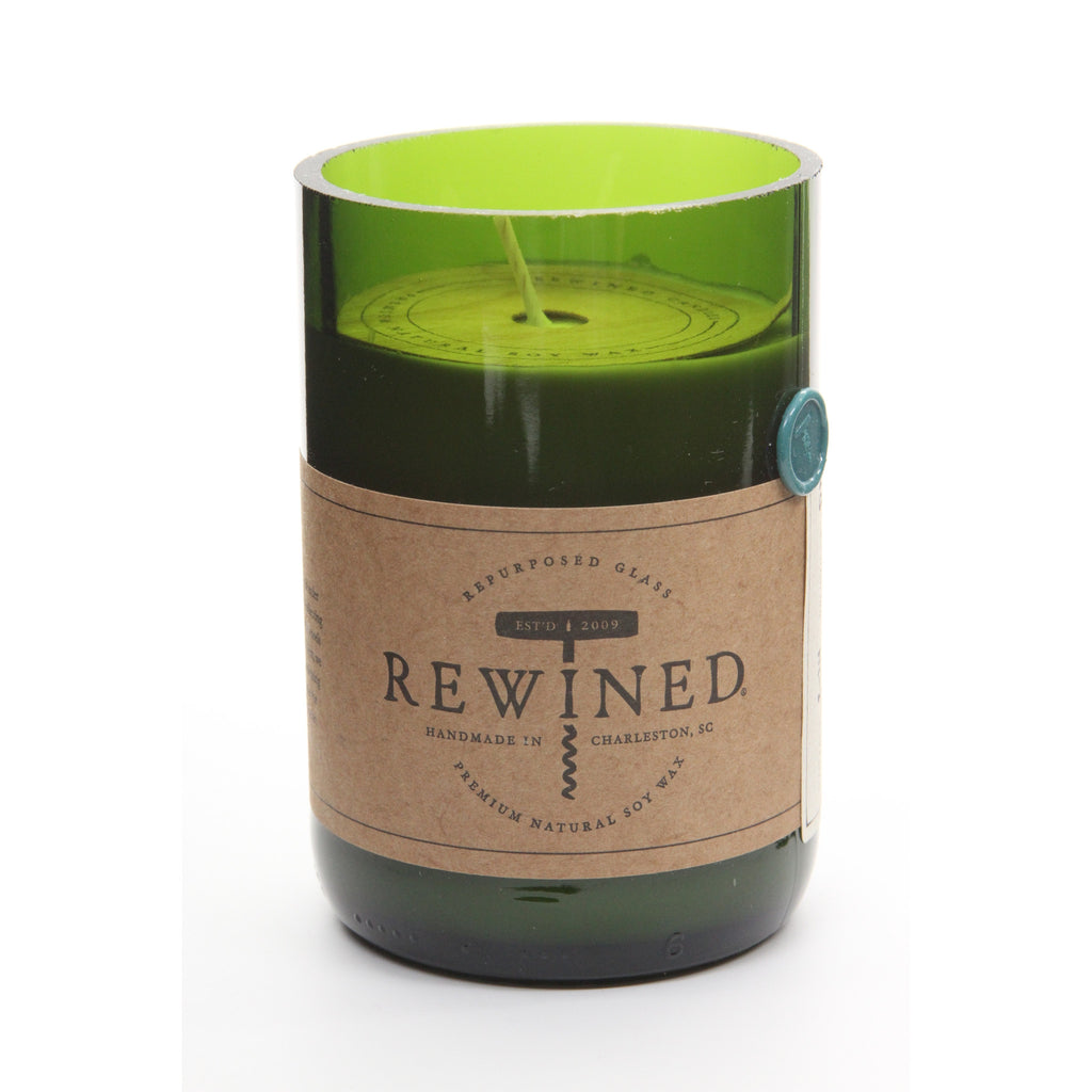 Rewined Recycled Wine Bottle Soy Wax Candle w/ Riesling Scent - ArtsiHome