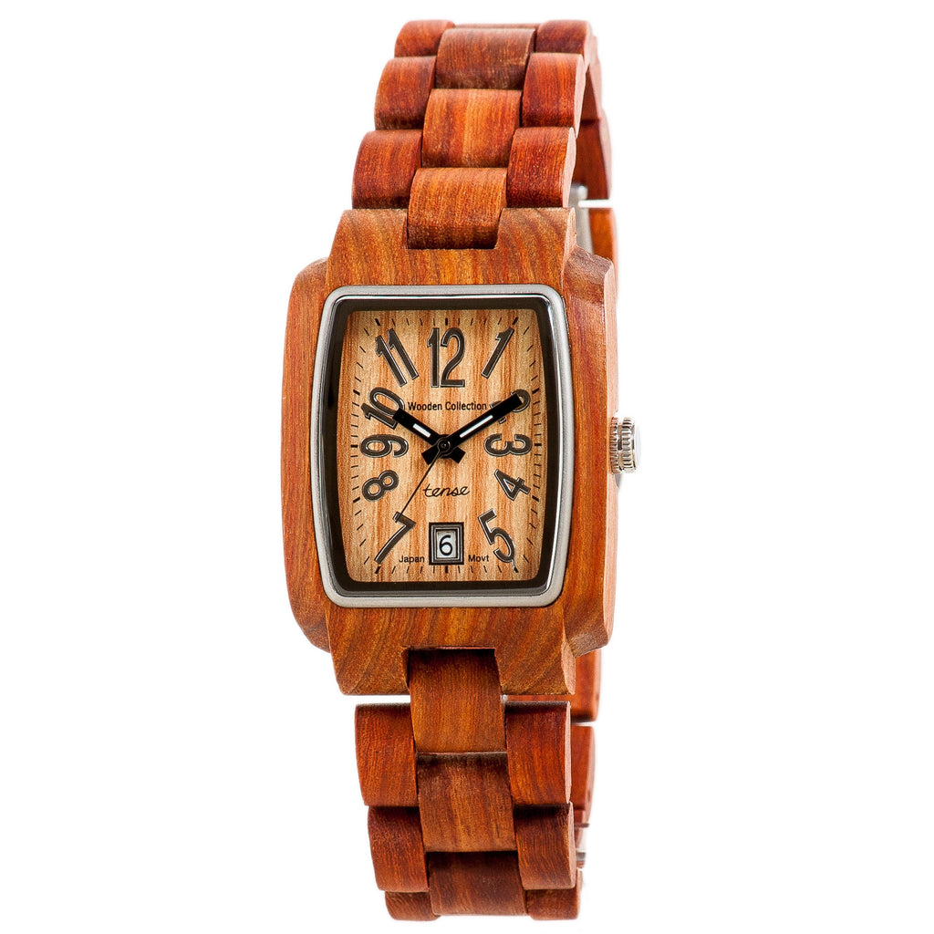 Tense Men's Solid Sandalwood Watch w/ Square Casing and Adjustable Strap - ArtsiHome