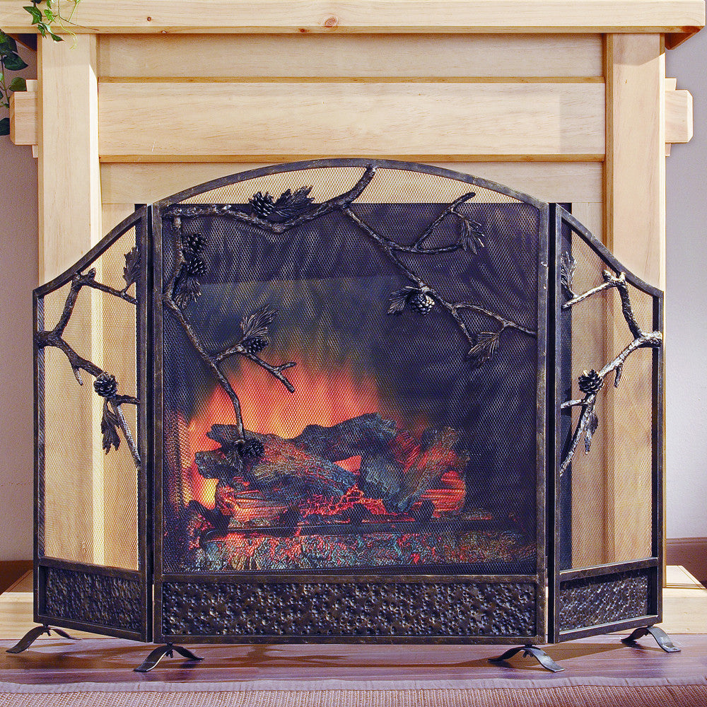 SPI Pinecone Fireplace Screen (Aluminum and Iron) - ArtsiHome - SPI Home