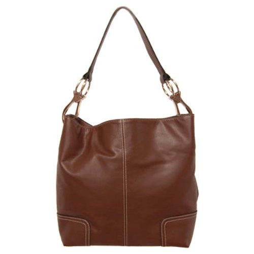 New Tosca Handbag, Purse Bucket Style Shoulder Bag Leather Look, 641 Color Dark Brown - ArtsiHome