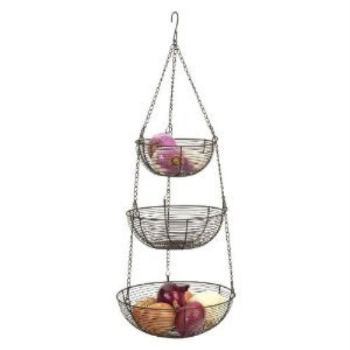 3 Tier Hanging Baskets Bronze Woven Wire - ArtsiHome
