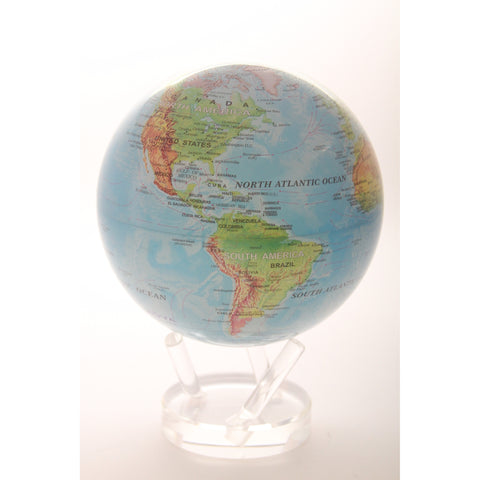 Mova Rotating 8.5 diam. in. Blue with Relief Map Globe - ArtsiHome