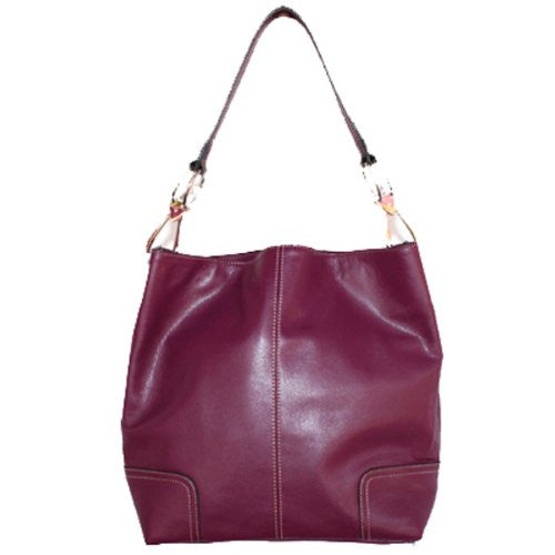 New Tosca Handbag, Purse Bucket Style Shoulder Bag Leather Look, 641 Color Burgundy - ArtsiHome