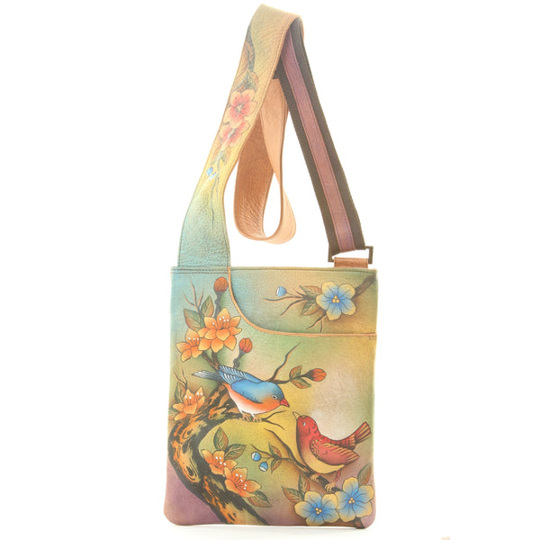 Anuschka Hand Painted Leather Purse Bag Birds Two For Joy Blossoms - ArtsiHome