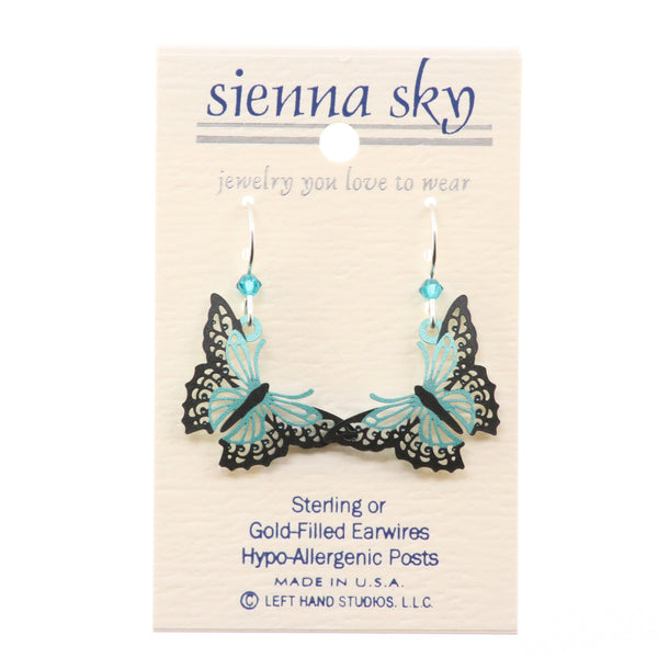 Sienna Sky Aqua And Black Filigree Butterfly Earrings - ArtsiHome