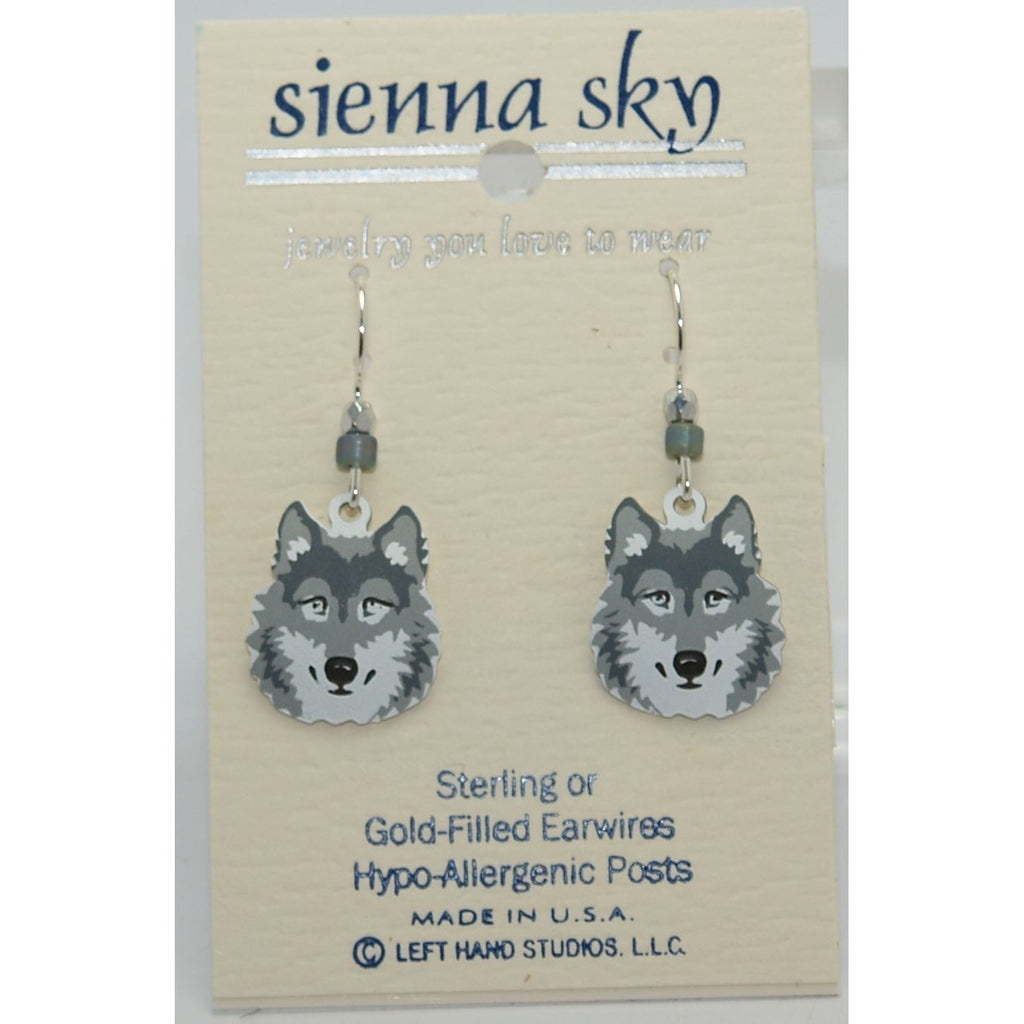 Sienna Sky Gray Wolf Face Earrings - ArtsiHome