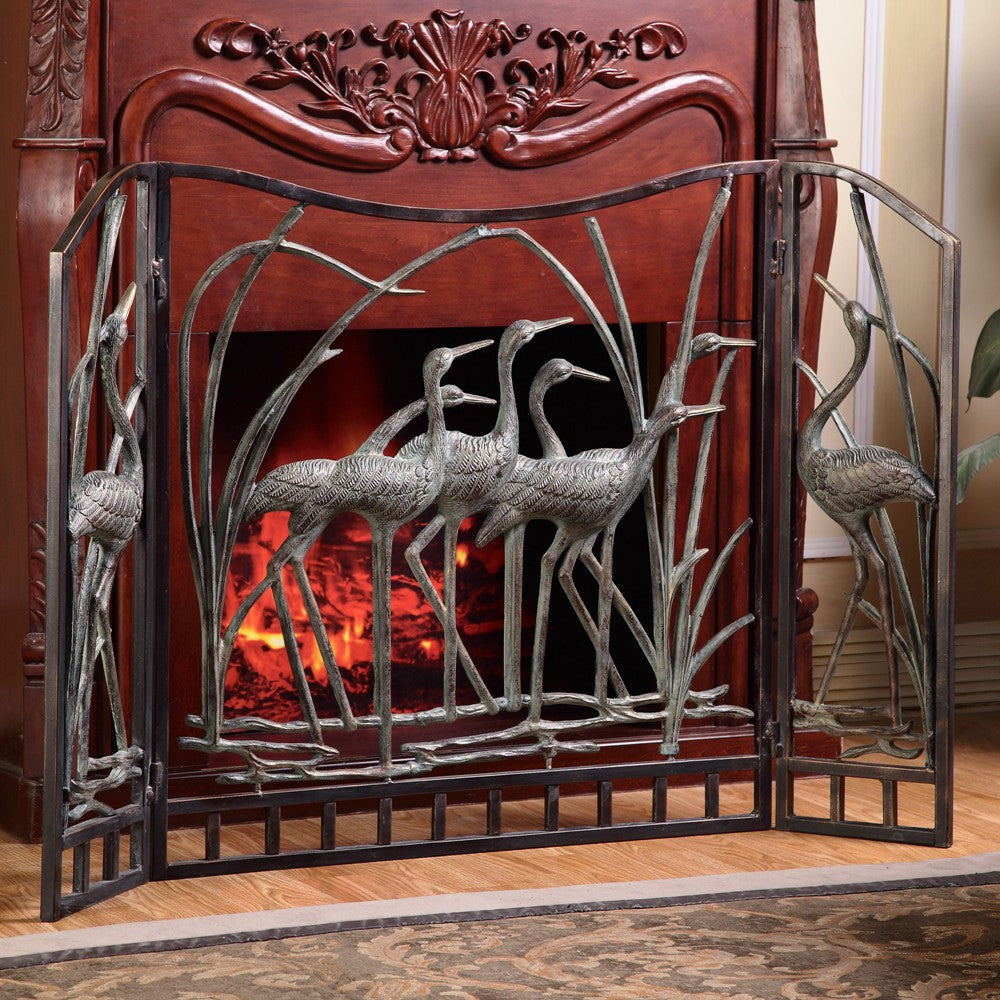 SPI Home Collection Crane Flock Fireplace Screen - ArtsiHome