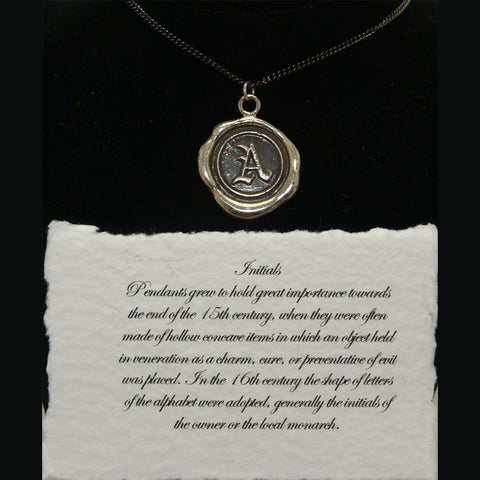 Pyrrha Wax Seal 925 Silver Talisman Initials Initial Letter A Necklace - ArtsiHome