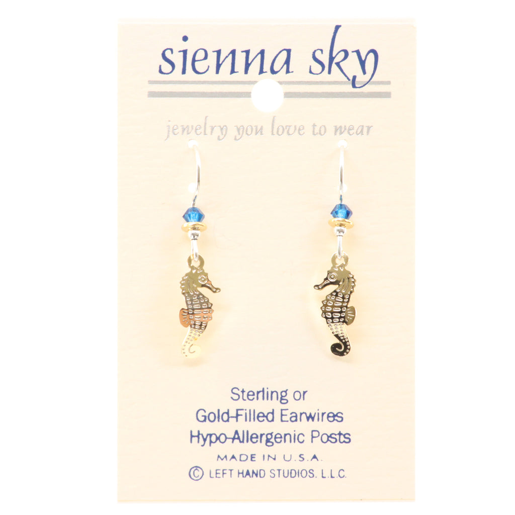 Sienna Sky Gold Seahorse Earrings Earrings - ArtsiHome