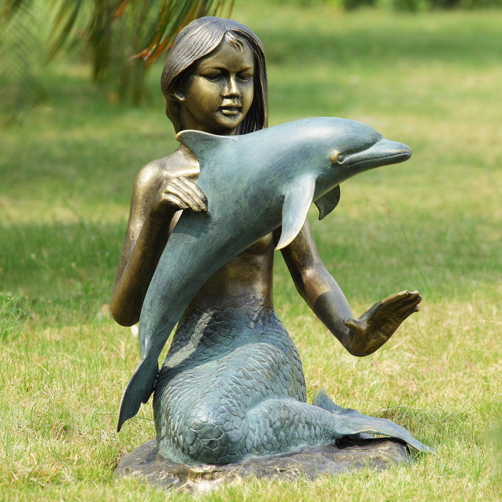 SPI Mermaid and Dolphin Garden Statue - ArtsiHome