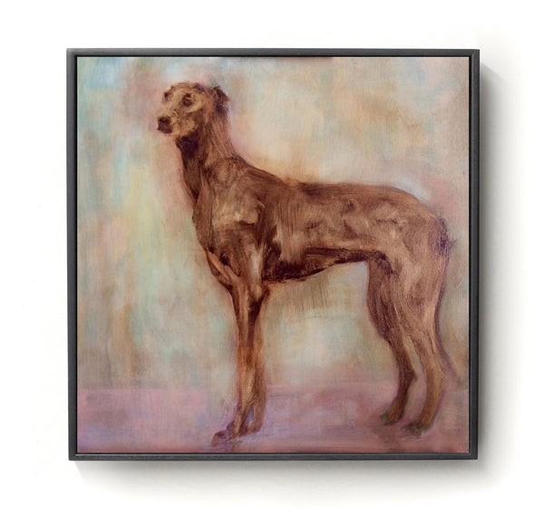 Oil painting commission of Whippet in subtle colours