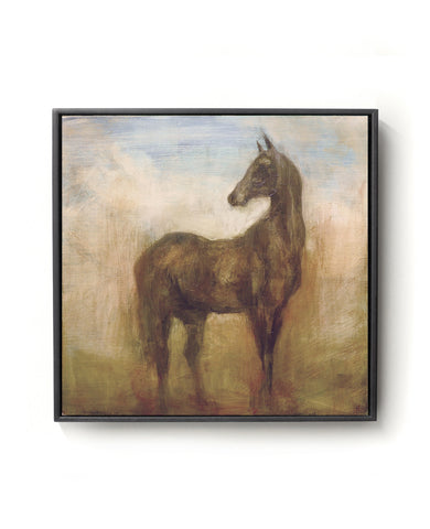 Oil Painting of a Horse in brown, blue and gold tones.