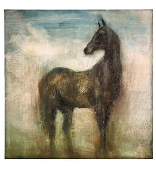 Hand finished giclee print of a horse in brown, yellow, green and blue tones.