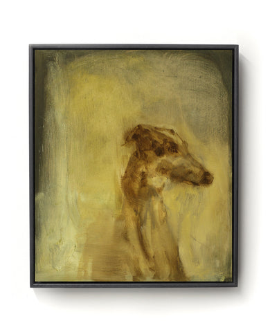 Oil painting on canvas of a dog in brown and gold tones.
