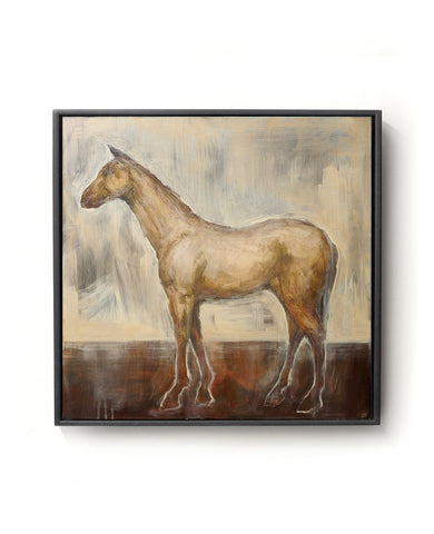Oil painting on canvas of a horse in brown, red and gold tones.
