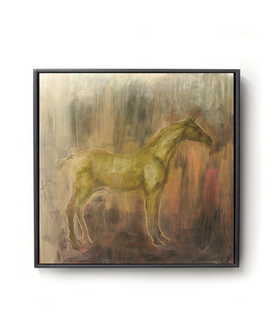 Oil painting on canvas of a horse in brown, pink and gold tones.