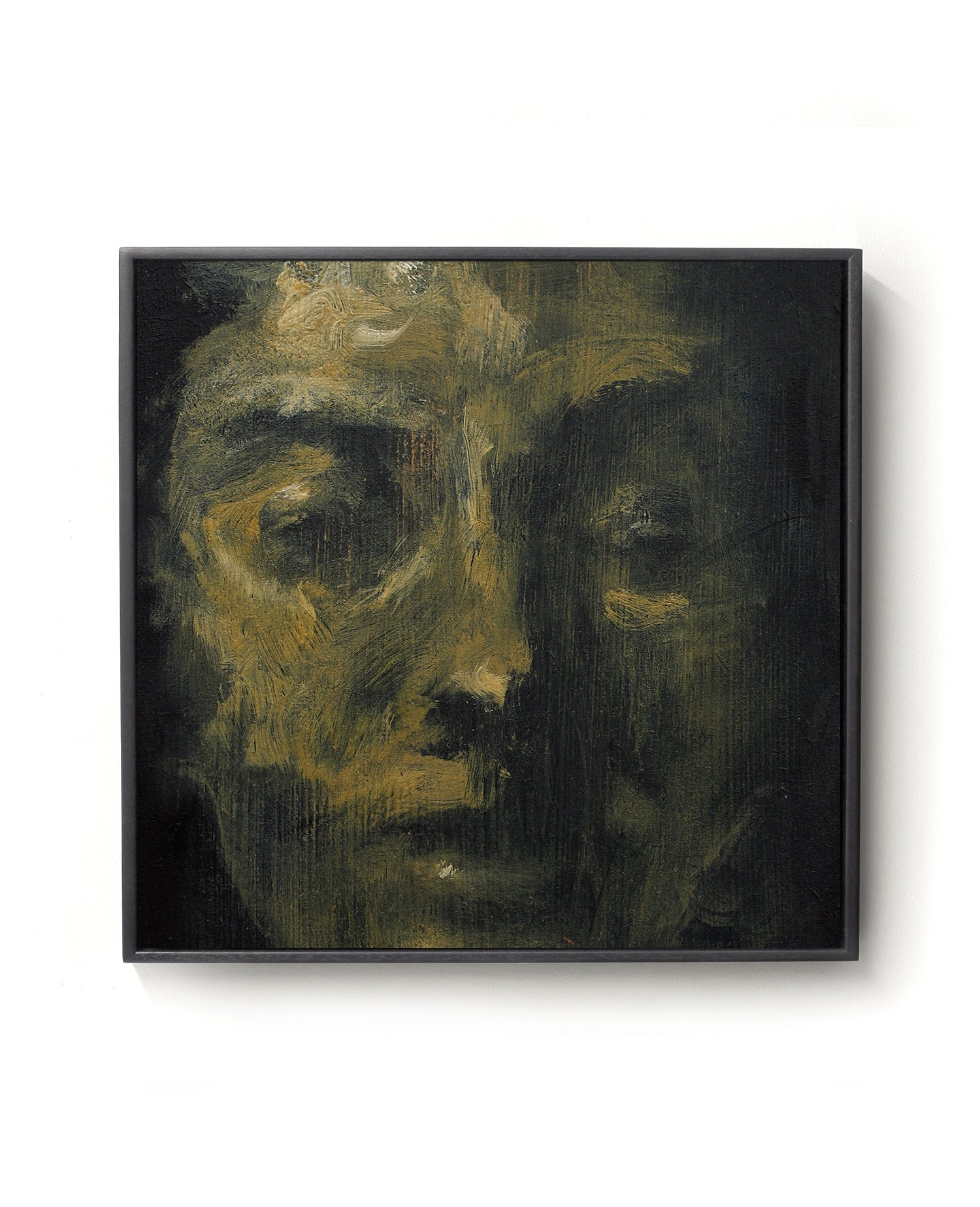Oil painting on canvas of a face in black and gold tones.