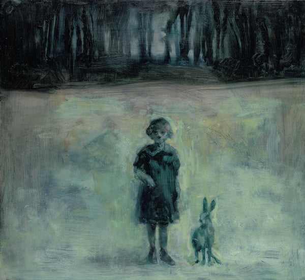 Oil Painting on canvas of a girl and a hare in blue and green tones.