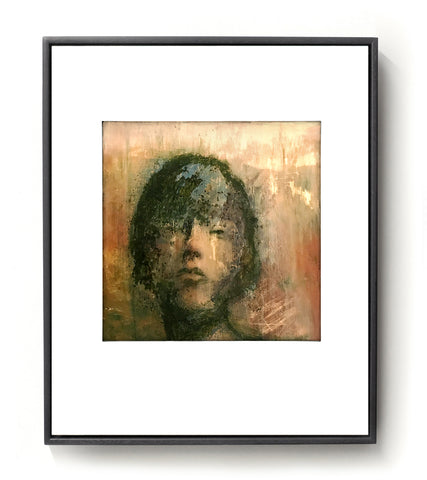 Hand finished giclee print of a female face in green, brown and gold tones.