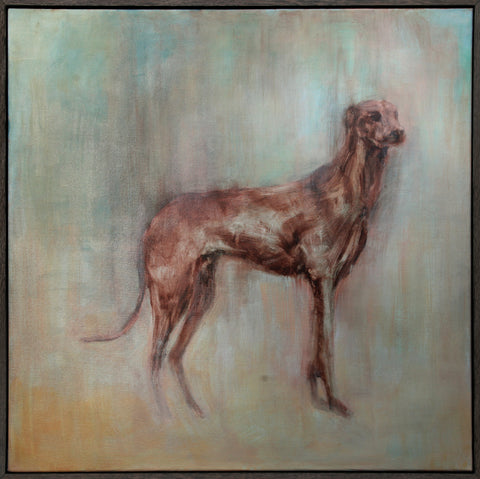 Dog Oil Painting on canvas, in brown, green and pale tones.