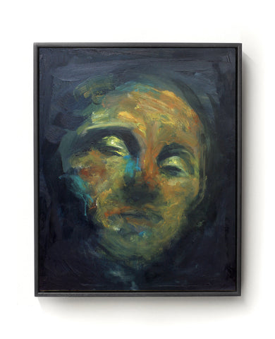 Oil painting on canvas of a face in black, yellow, red and blue tones.