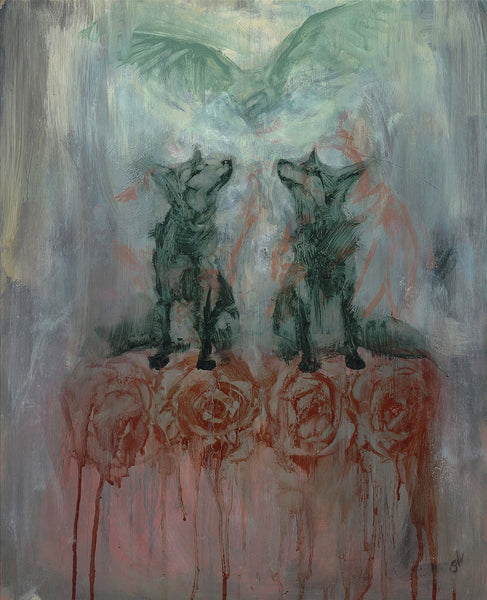 Fox, owls and roses oil painting on canvas in blue, green and red tones.