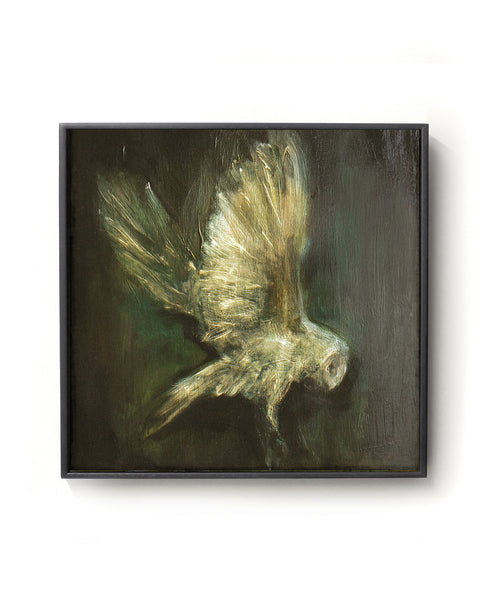 Oil painting on canvas of an owl in black, green and gold tones.