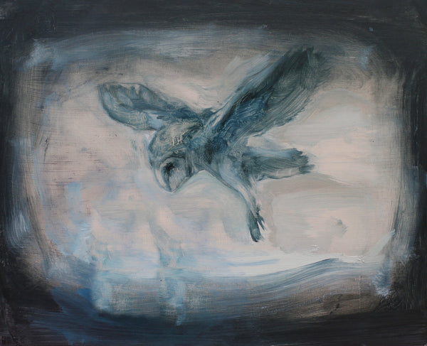 Oil painting on canvas of an owl in black, blue and pale tones.