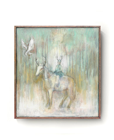 Oil painting on canvas of a child on horseback with an owl in green, blue and pale tones.