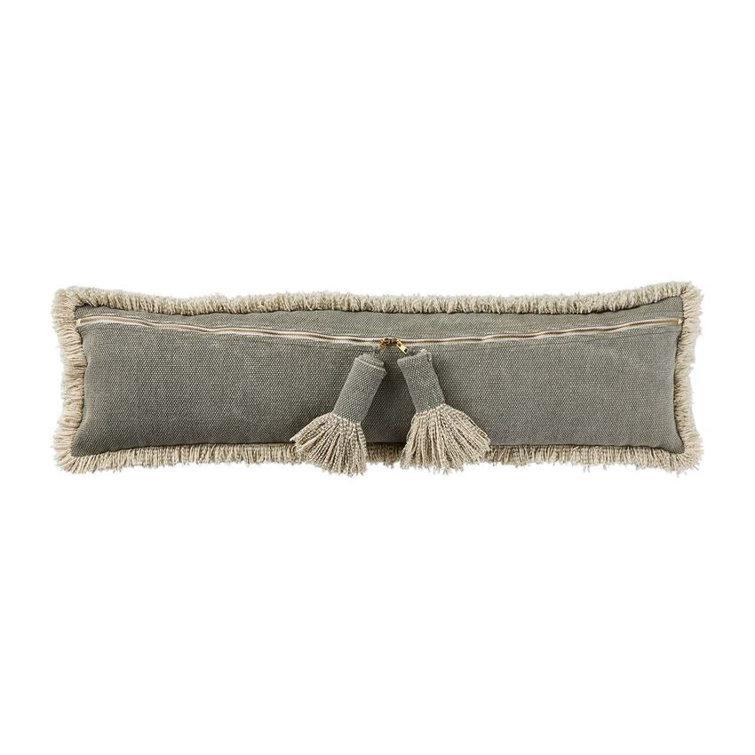 Long Grey Tassel Pillow