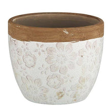 Load image into Gallery viewer, Cream Floral Flower Pot