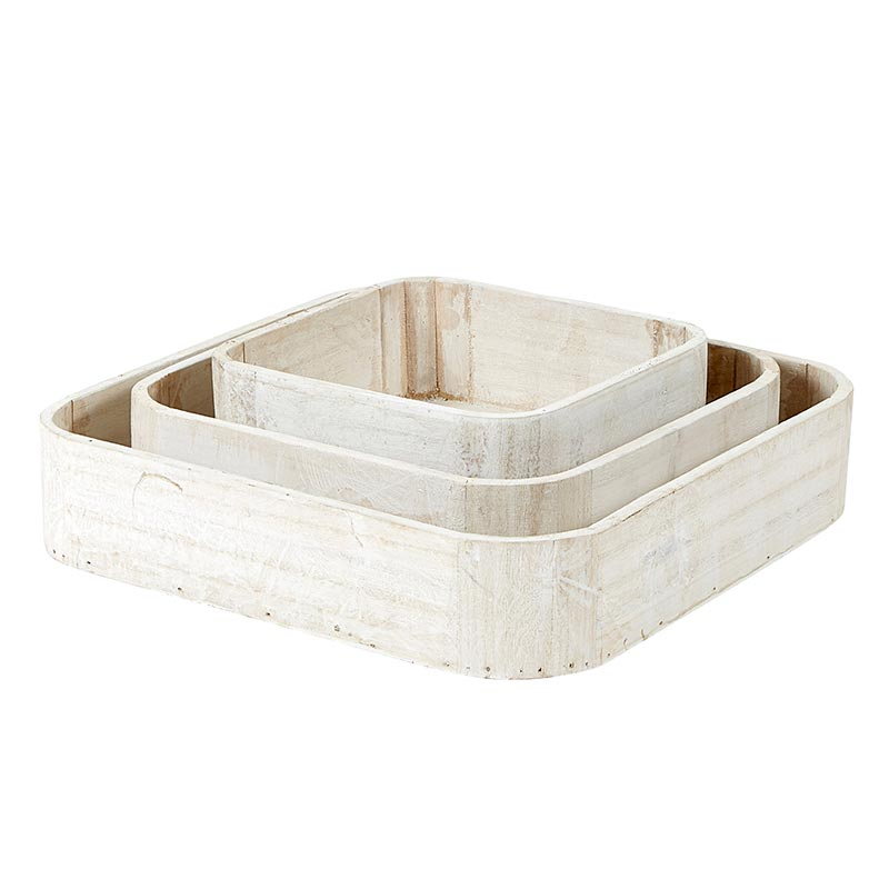 Wooden Square Trays Set/3