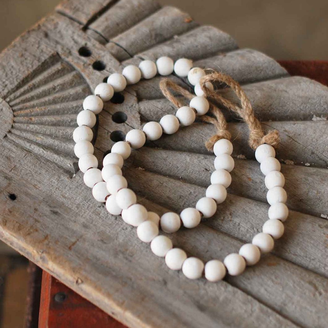 Kala Beaded Garland White Wash