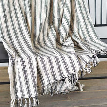Load image into Gallery viewer, Cream Stripe Throw W/ Fringes