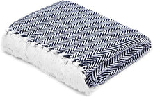 Load image into Gallery viewer, Cotton Throw Blanket Navy