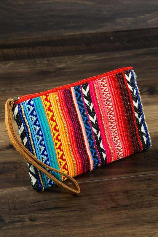 Handmade ethnic pattern and seed bead clutch
