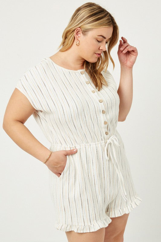 Plus Stripe Button-Down Romper