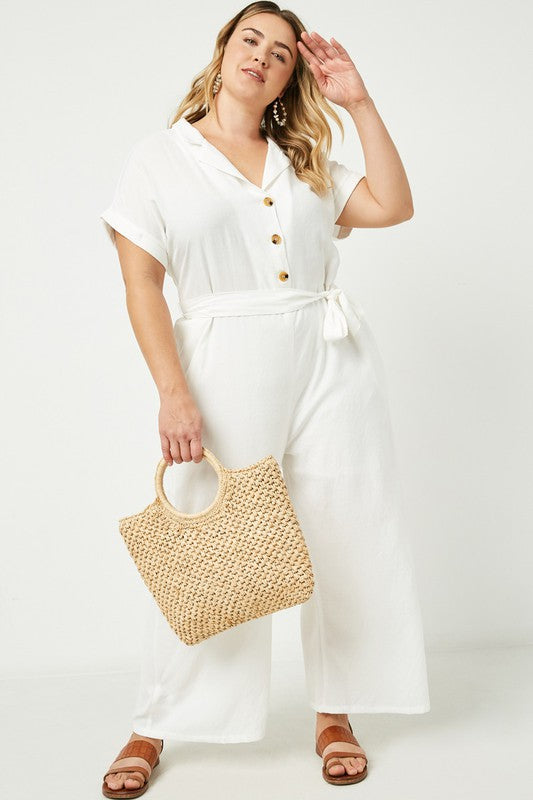 Plus Wide Leg Collared Tie Waist Jumpsuit