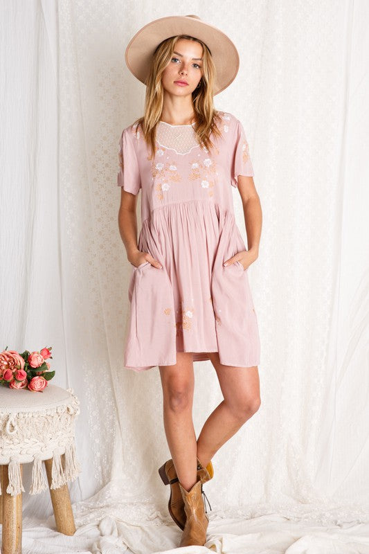 EMBROIDERED MINI DRESS WITH MESH TRIM