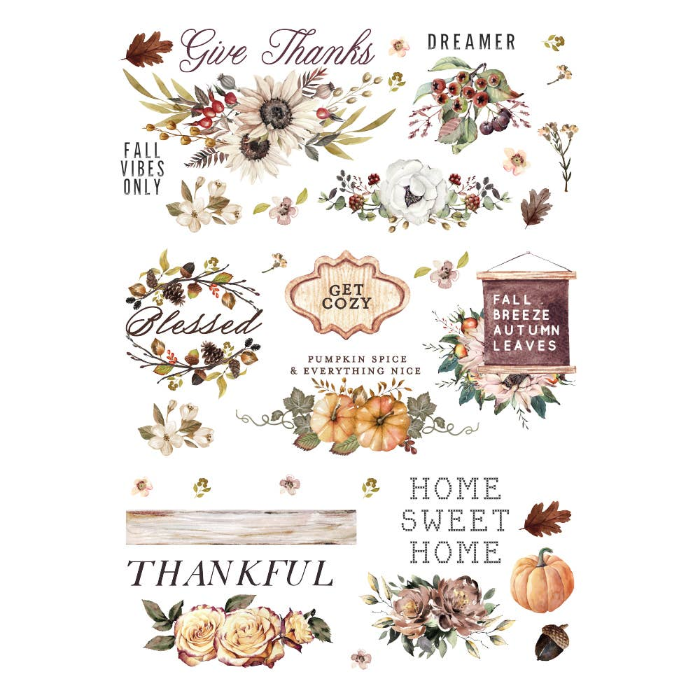 Redesign with Prima - Redesign Decor Transfers® - Thankful Autumn size 24