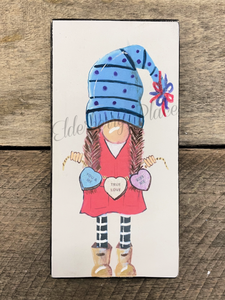 PRINT BLOCK of Original Gnome - Valentine Candy Girl 7""