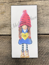 Load image into Gallery viewer, PRINT BLOCK of Original Gnome - Valentine Girl 7""