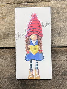 PRINT BLOCK of Original Gnome - Valentine Girl 7""