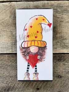 "PRINT BLOCK of Original Gnome - Yellow Hat / Red Sparkly Heart 7"" - Valentine"