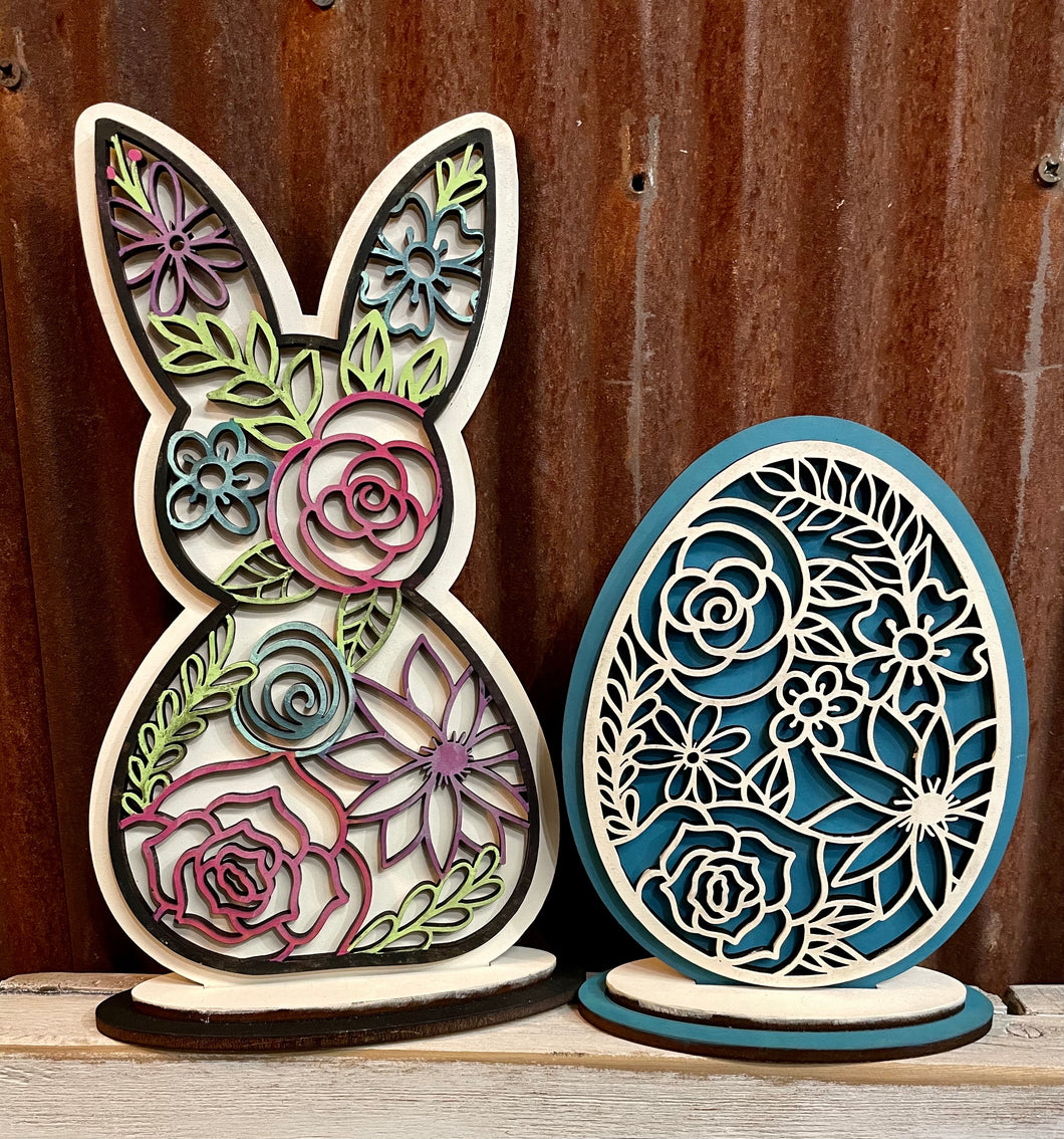 Frilly Bunny & Egg - Wood Blanks (Unpainted)