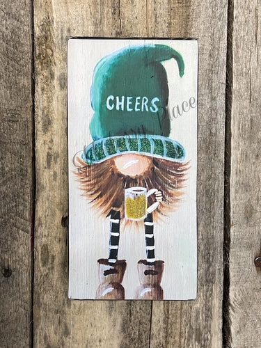 PRINT BLOCK of Original Gnome - St. Patricks Day with Beer 7
