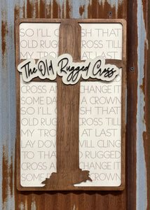 "Laser Cut & Hand Painted ""Old Rugged Cross"" Sign"